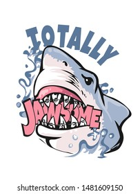 cartoon shark illustration biting jaw some slogan