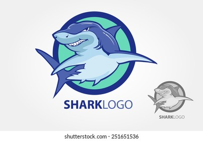 Cartoon shark logo with s circle as a background