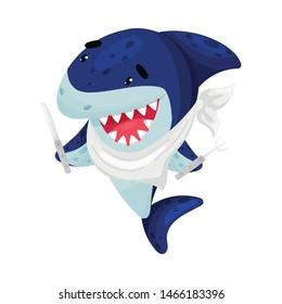 Cartoon shark ready for dinner. Vector illustration on white background.