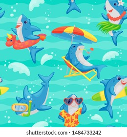 Cartoon shark seamless pattern - funny cute blue sea fish on tropical beach holiday swimming underwater, drinking cocktail, dancing and surfing - colorful ocean background vector illustration