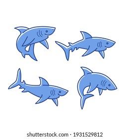 Cartoon shark sketch line icon. Сute animals set of icons.