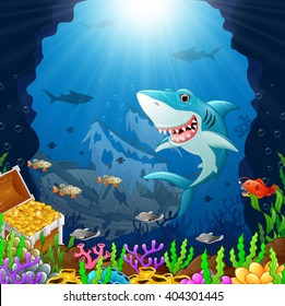 cartoon shark under the sea