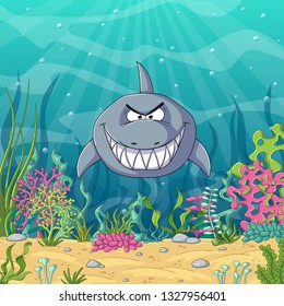 Cartoon shark with unterwater landscape with plants