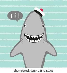 Cartoon shark vector illustration for kids. T-shirt, card, poster design.