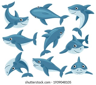Cartoon sharks. Cute underwater shark animals, toothy fish mascot, ocean fauna character. Sharks creatures mascots vector illustration set - Shutterstock ID 1939048105