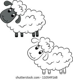 Cartoon sheep. Coloring book. Vector illustration