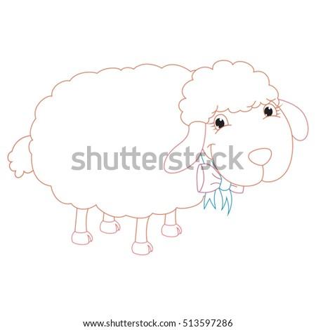 Cartoon Sheep Coloring Page Illustration Stock Vector (Royalty Free ...