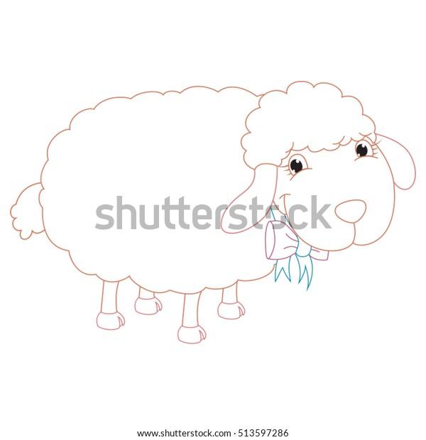 Cartoon Sheep Coloring Page Illustration Stock Vector ...