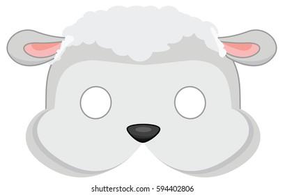 cartoon sheep mask for children masquerade. Vector Mask pattern.