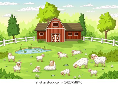 Cartoon sheep on a farm. Summer Landscape with red house and fence.
