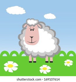 Cartoon sheep on the meadow. Cut paper. Vector.