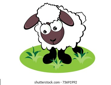 Cartoon Sheep on the meadow. Illustration for design