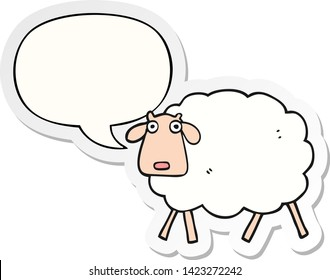cartoon sheep with speech bubble sticker