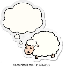 cartoon sheep with thought bubble as a printed sticker