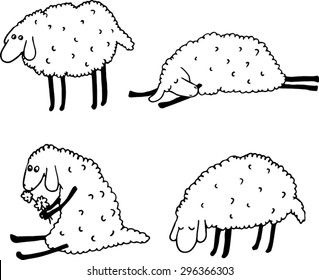 Cartoon sheeps set. Hand drawn illustration.