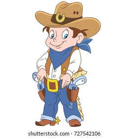 Cartoon sheriff or american cowboy. Colorful book page design for kids and children.