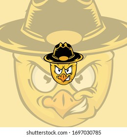 cartoon sheriff chicken mascot logo