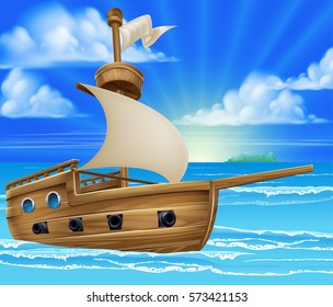 A cartoon ship or boat sailing in the ocean background