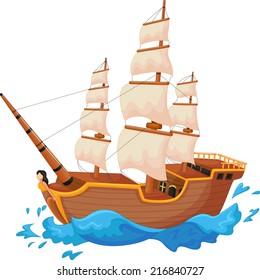 Cartoon ship isolated