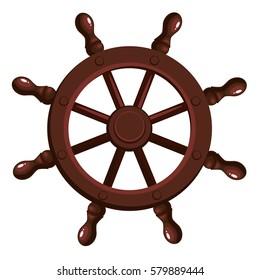 Cartoon ship's wheel on a white background. Vector illustration.