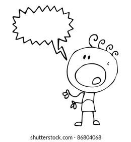 cartoon shocked doodle boy