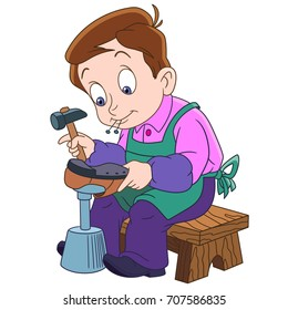 Cartoon shoemaker (cobbler), isolated on white background. Colorful book page design for kids and children.