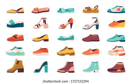 Cartoon shoes. Flat autumn footwear, running shoes and summer sandals, male and female sneakers and boots collection. Vector isolated illustration set of shoes