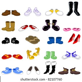 Cartoon shoes set