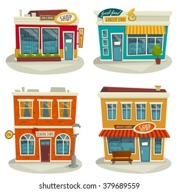 Cartoon shop building set isolated on white / vector illustration / front view / exterior / facade