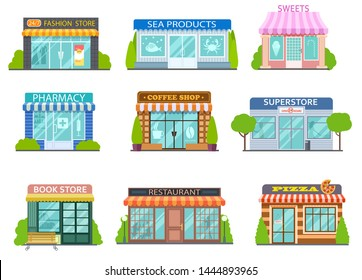 Cartoon shops. Barber shop, bookstore and pharmacy. Bakery, cafe and restaurant isolated flat stories vector street trading set. Illustration restaurant and shop building, store market