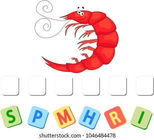 Cartoon shrimp crossword. Put the letters in the correct order