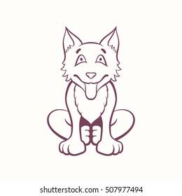 Cartoon Siberian dog sitting on its hind legs. Ink style contour vector illustration.