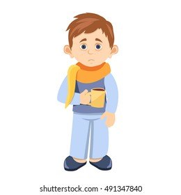 cartoon sick child with a Cup of hot tea in hand. dressed in a homemade costume. neck wrapped in a scarf.sick schoolboy at home poster flat abstract vector illustration