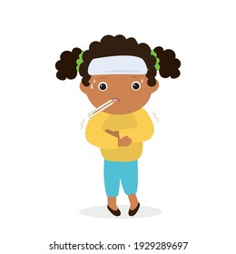 Cartoon sick girl with high fever. African american child is sick with flu or coronavirus. Kid with thermometer in his mouth. Medical assistance, treatment for illness. Flat vector illustration