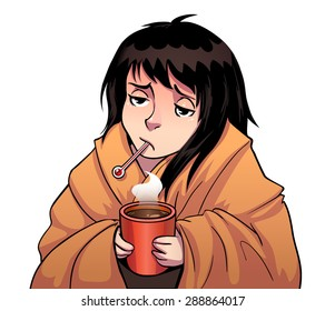 Cartoon sick girl with thermometer and hot cup