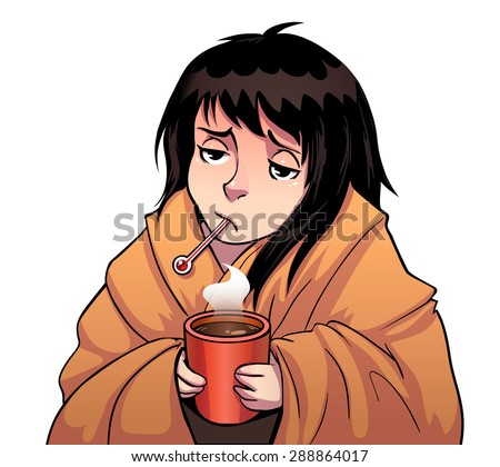 Cartoon Sick Girl Thermometer Hot Cup Stock Vector Royalty Free