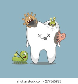cartoon sick tooth with bacteria