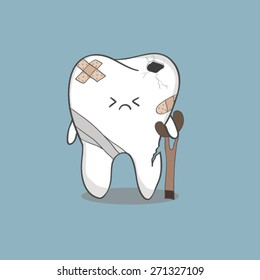 cartoon sick tooth with sticky plaster and bandages