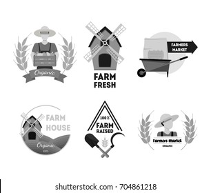 Cartoon Silhouette Black Farm Labels Set Farmhouse Flat Style Web Design Elements. Vector illustration