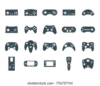 Cartoon Silhouette Black Gamepad Icon Set Concept Element Flat Design Style. Vector illustration of Joystick Game Icons Silhouettes