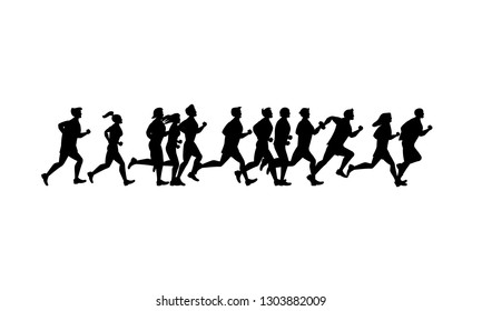 Cartoon Silhouette Black Jogging Characters People Set Concept Sport Element Flat Design Style. Vector illustration of Man and Woman Runner Marathon