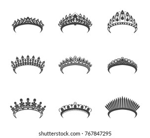 Cartoon Silhouette Black Tiara Set Different Types Decoration Element Flat Design Style. Vector illustration of Queen or Bride Tiaras