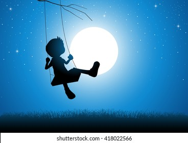 Cartoon silhouette of a boy playing on a swing during full moon