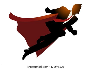 Cartoon silhouette of a businessman as superhero flying fast, successful, leadership, spirit, business concept