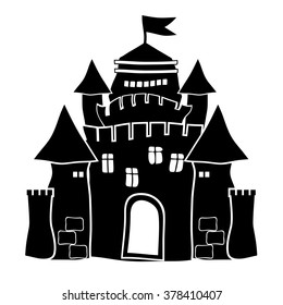 cartoon silhouette of the castle, the Palace, the smooth rounded form, black and white. vector