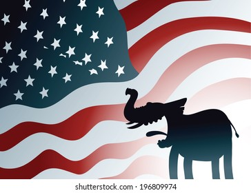 A cartoon silhouette of a friendly Republican elephant in front of a US flag backdrop.