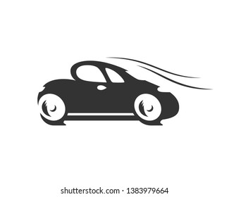 Cartoon silhouette of the funny car is driving really fast. The black logo car is isolated on a white background.