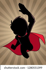 Cartoon silhouette illustration of powerful and healthy super boy, flying against ray light background...