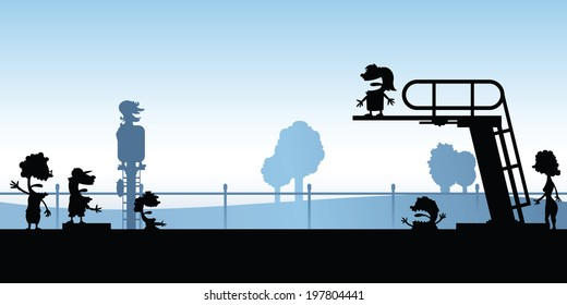 Cartoon silhouette of people swimming at a pool with a diving board.