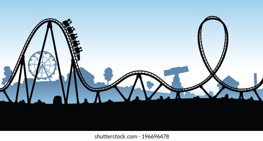 Roller coaster cartoon on happy cartoon mouth